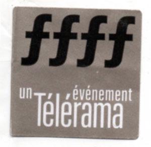 """Stick """"Télérama ffff"""" 30 mm x 30 mm"""
