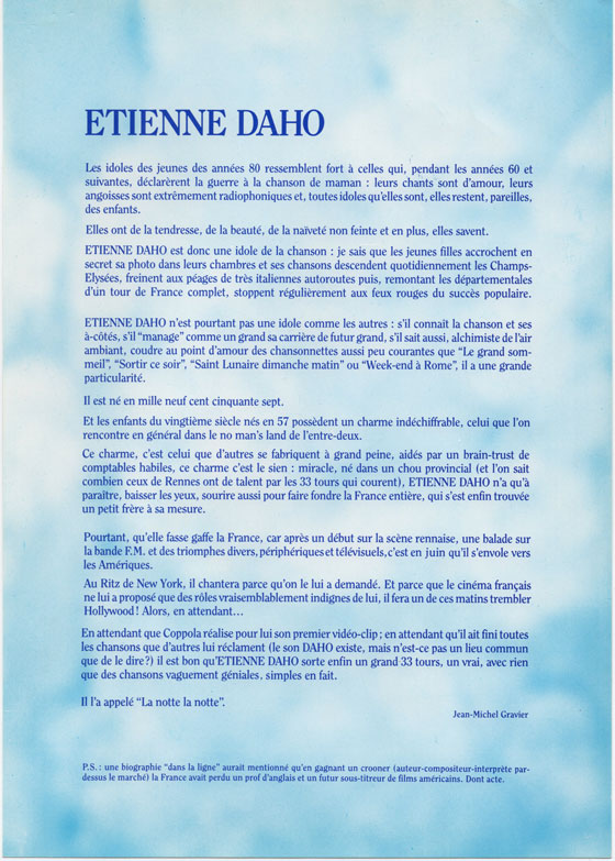 Etienne Daho - Plaquette promo La notte, La Notte