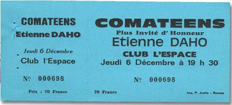 Etienne Daho - Billet Concert 6 décembre 1984 avec Les Comateens - Rennes