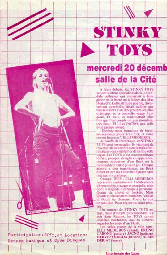 Concert des Stinky Toys Rennes 1978 - Flyer