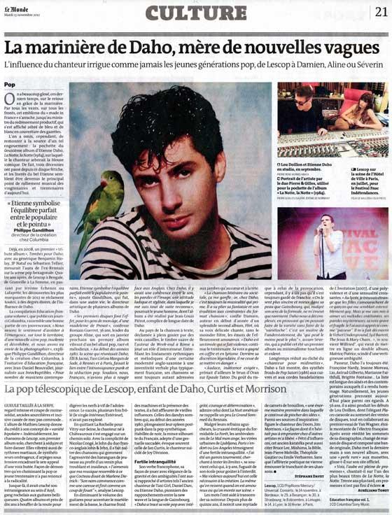 Etienne Daho - Le Monde - 13 novembre 2012