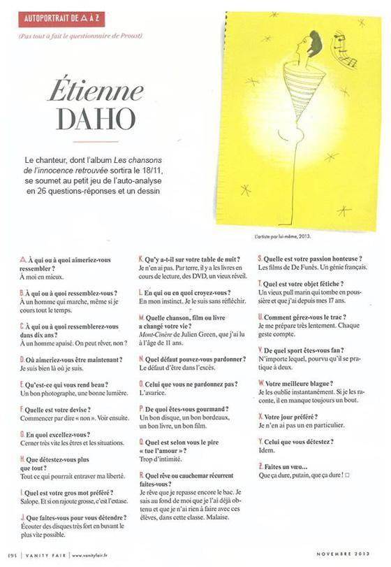 Etienne Daho - Vanity Fair - novembre 2013