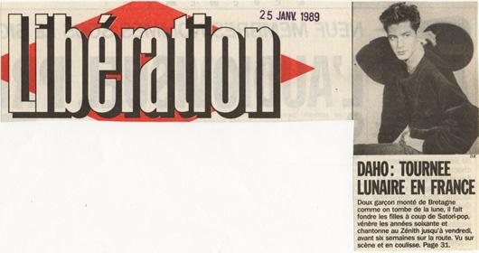 Etienne Daho - Libération 25 janvier 1989